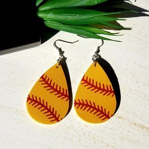 Softball 🥎 faux leather earrings!